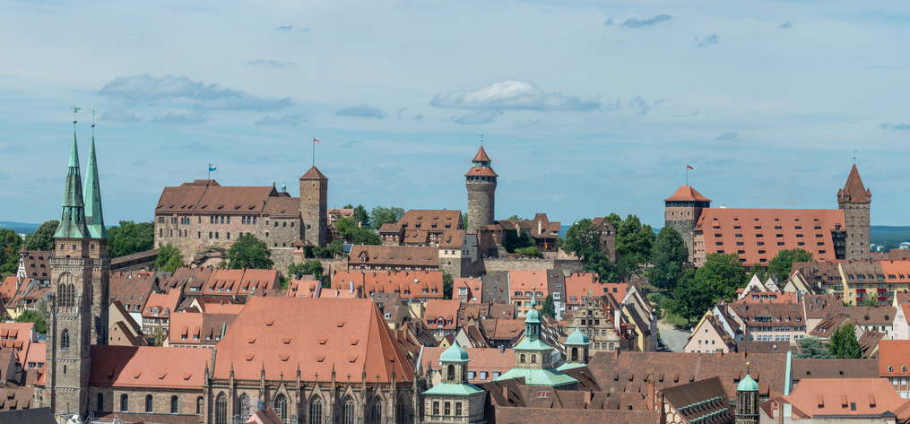 Nürnberg Panorama of the famous castle of Nuremberg and Sebaldus church on a sunny day